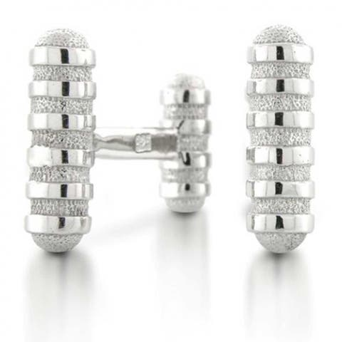 Solid Round Bar Rectangle French Style Fixed Backing Cufflinks Silver