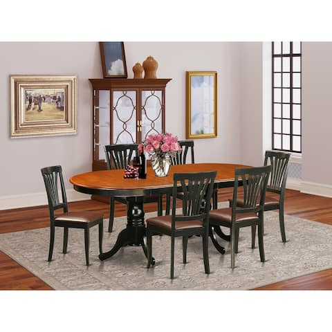 7 Pc Dining room set-Dining Table with 6 Wooden Dining Chairs (Finish Option)