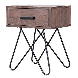 Gymax Nightstand Side End Coffee Table Storage Display Steel Hairpin Legs with Drawer