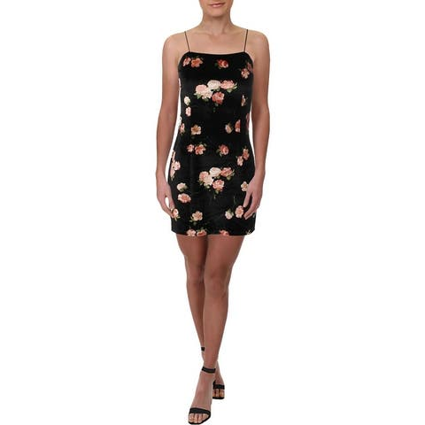 Aqua Womens Slip Dress Velvet Floral