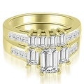 2.75 cttw. 14K Yellow Gold Channel Princess and Emerald Cut Diamond Bridal Set - Thumbnail 0