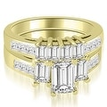 3.00 cttw. 14K Yellow Gold Channel Princess and Emerald Cut Diamond Bridal Set - Thumbnail 0