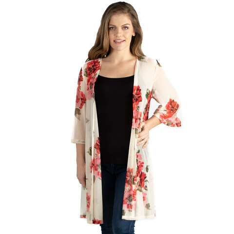 24seven Comfort Apparel Knee Length White Floral Print Plus Size Kimono Cardigan