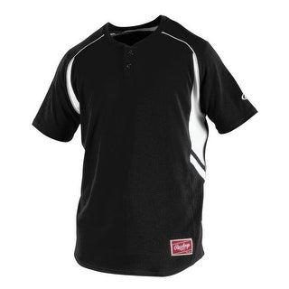 Rawlings Adult 2-Button Henley Baseball Jersey
