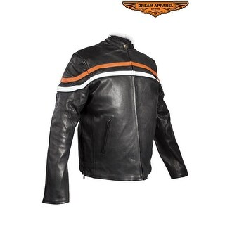 Mens Reversible Leather Motorcycle Jacket - Size - M