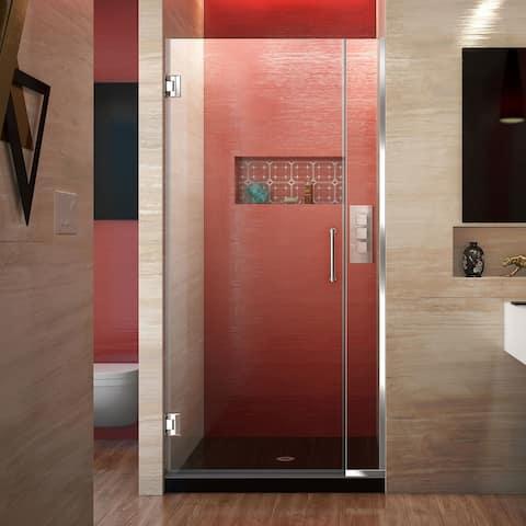 """DreamLine Unidoor Plus 33 1/2 - 34 in. W x 72 in. H Frameless Hinged Shower Door - 33.5"""" - 34"""" W"""