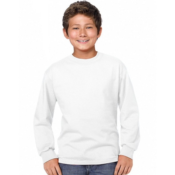 a4de13955b96 Shop Hanes Youth ComfortSoft® TAGLESS® Long-Sleeve T-Shirt - Size - XS -  Color - White - Free Shipping On Orders Over  45 - Overstock - 13857633