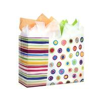 """Pack Of 25, Vogue Size 16 x 6 x 12"""" Rainbow Spots Plastic 3 Mil Shopping Bags W/6 Mil Handle"""