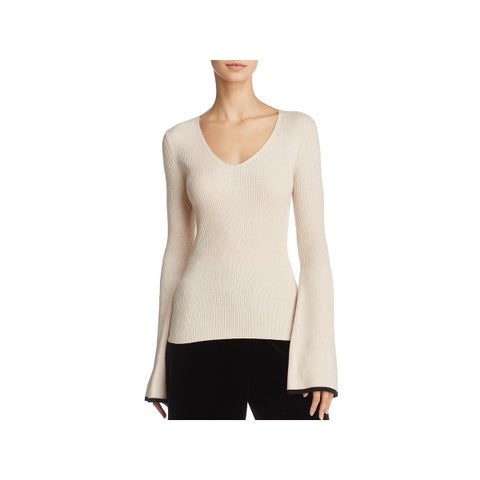 French Connection Womens Virgie Pullover Sweater Wool Blend Contrast Trim