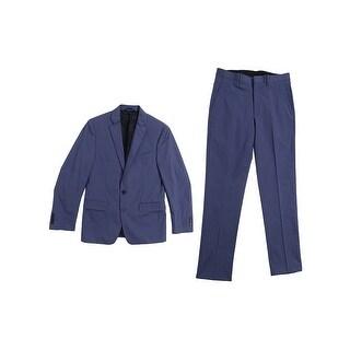Ryan Seacrest Distinction Men's Blue Twill Slim-Fit Suit - 38 regular 31w
