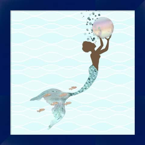 Tina Lavoie 'Beautiful Black Mermaid' Framed Art