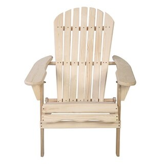 Gymax Foldable Fir Wood Adirondack Chair Patio Deck Garden Outdoor - as pic
