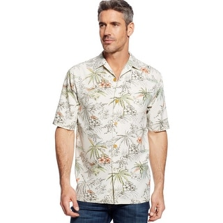 Tommy Bahama Lido Leisure Tropical Short Sleeve Shirt Coconut Medium M