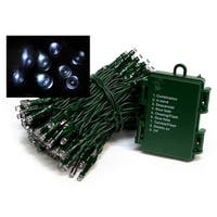 Set of 1152 Battery Operated Multi-Function Cool White LED Wide Angle Christmas Lights - Green Wire - CLEAR