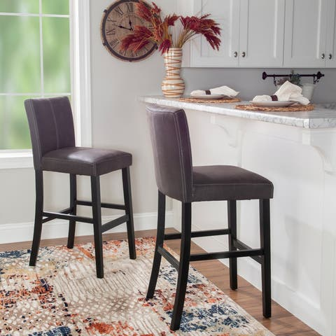 Faux Leather Black Charcoal Bar Stool