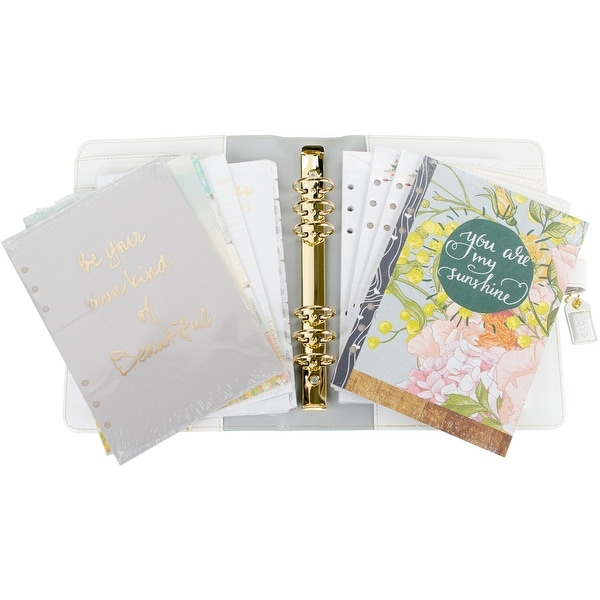 "Color Crush A5 Faux Leather Planner Kit 7.5""X10""-Teal Stripe"