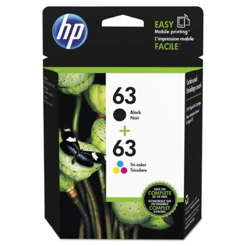 HP 63 Black & Tri-color Original Ink Cartridges, 2 Cartridges (F6U61AN, F6U62AN) - black and color