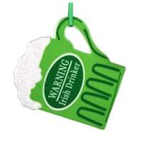 "4"" Luck of the Irish ""Warning Irish Drinker"" Beer Mug Christmas Ornament - green"