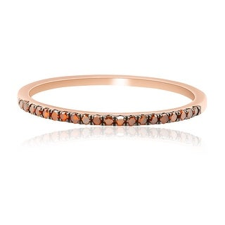 0.15 Carat Cognac Color Treated Real Diamond Half Eternity Anniversary Ring