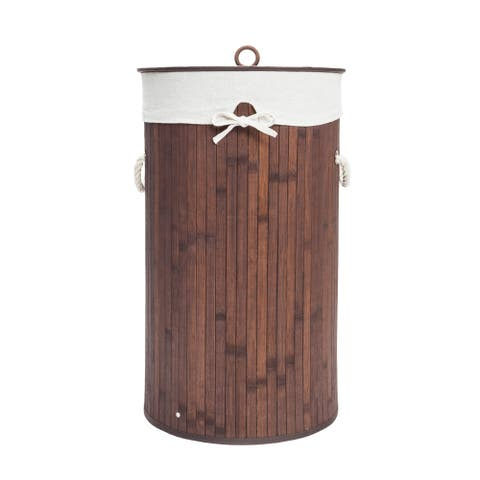 Barrel Bamboo Folding Laundry Basket Body with Cover