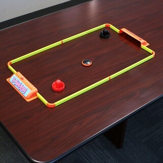 Sunnydaze Portable Hover Tabletop Air Hockey Game Set - 40-Inch - Yellow