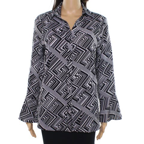 NY Collection Black Womens Size Medium M Printed Button Down Shirt