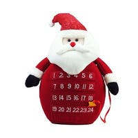 "18"" Plush Red LED Lighted Santa Claus Count Down to Christmas Advent Calendar"