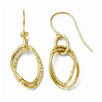 Italian 10k Gold Polished and Textured Shepherd Hook Dangle Earrings