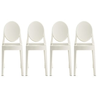 2xhome -Set of 4, Standard Size - White  Plastic Dining Chairs Modern