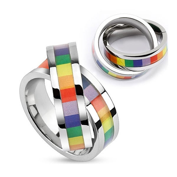 Rainbow Inlay Double Linked Stainless Steel Ring Pendant (12 mm Width)