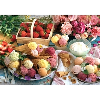 Colorluxe 1500 Piece Puzzle - Variety of Ice Creams With Strawberries and Roses