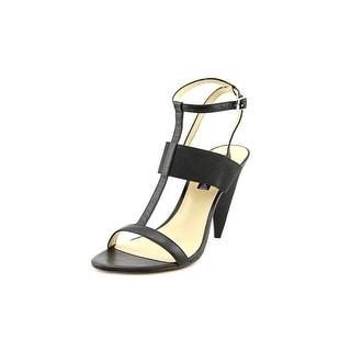 Steven Steve Madden Lolaaa Women Open Toe Leather Black Sandals