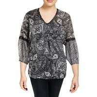 Lauren Ralph Lauren Womens Plus Madelyn Blouse Silk Blend Paisley