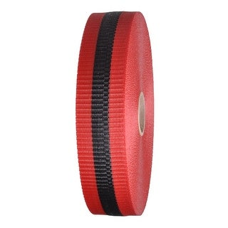 "Woven Barricade Tape 2"" x 150 ft Red with Black Stripe 48 Roll Case"