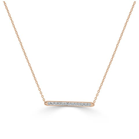 """Diamond Bar Necklace 14k Gold 1/10ct TDW on an adjustable 14"""", 16"""" & 18"""" Chain by Joelle Collection"""