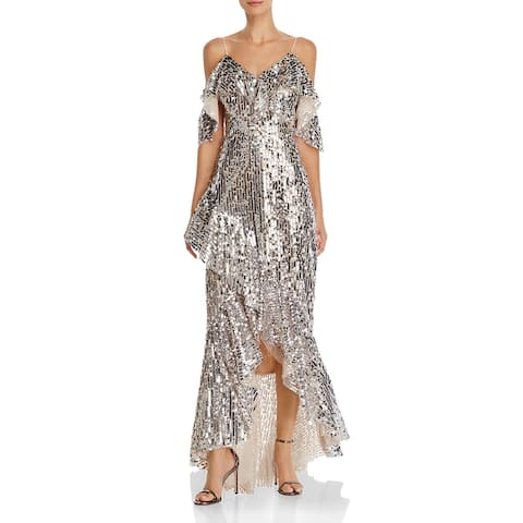 Laundry by Shelli Segal Womens Evening Dress Mesh Sequined - Champagne