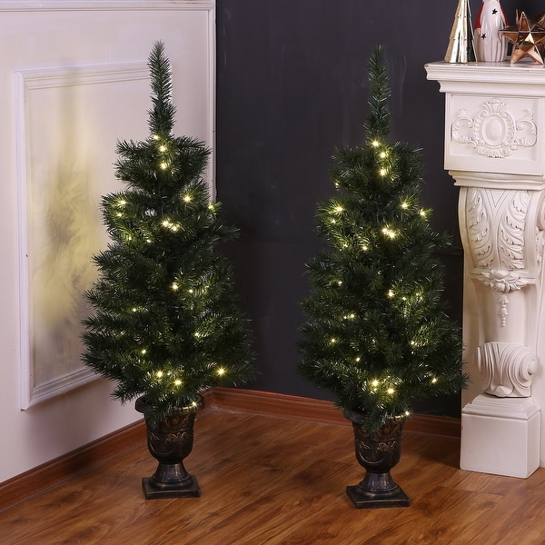 Set of 2 4-Ft Pre-Lit Artificial Green PVC Porch Trees. Opens flyout.