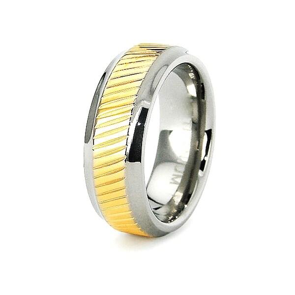 7mm Titanium Ring with Beveled Edge 18K Gold Plated Center (Sizes 6-8)