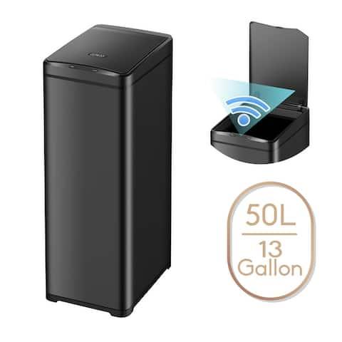 13 Gallon Automatic Trash Can for Kitchen Black Steel Touchless Motion Sensor Bin Soft Close Lid 50L LED Timer Slim Design