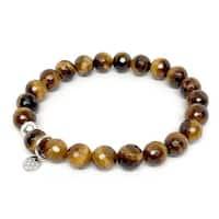 "Brown Tiger's Eye Lucy 7"" Sterling Silver Stretch Bracelet"