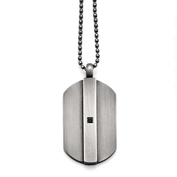 Chisel Stainless Steel Brushed with Black CZ Necklace - 20 in