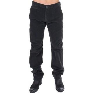 GF Ferre Black Corduroy Cotton Straight Fit Pants - it48-m