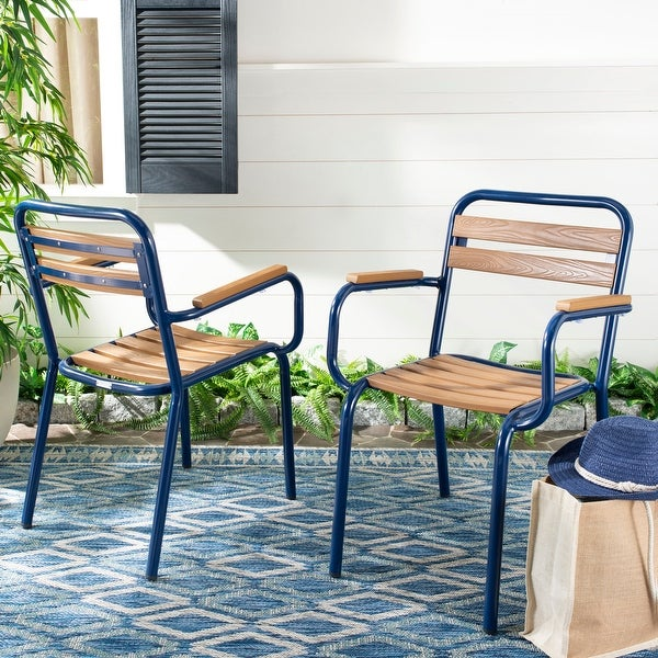 "Safavieh Outdoor Living Rayton Chair - Brown / Navy (Set of 2) - 21.7""x23.2""x33"". Opens flyout."
