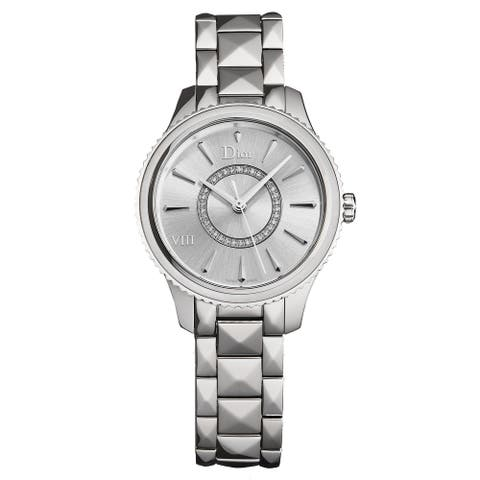 Christian Dior Women's CD152110M011 'Montaigne' Silver Diamond Dial Stainless Steel Swiss Quartz Watch
