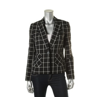 Nine West Womens Pattern Single Vent One-Button Blazer