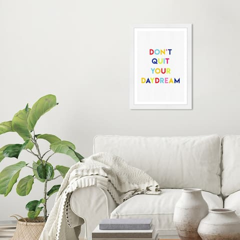 Wynwood Studio 'Daydream' Typography and Quotes Blue Wall Art Framed Print