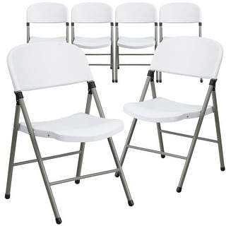 Link to 6PK 330 lb. Capacity White Plastic Folding Chair with Gray Frame - Event Chair Similar Items in Home Office Furniture