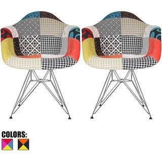 2xhome - Modern Fabric Chair With Arm Armchairs Patchwork Soild Silver Chrome Wire Dining Chairs Accent Chairs Office