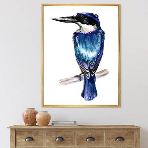Designart 'Style Kingfisher Bird' Traditional Framed Canvas Wall Art Print