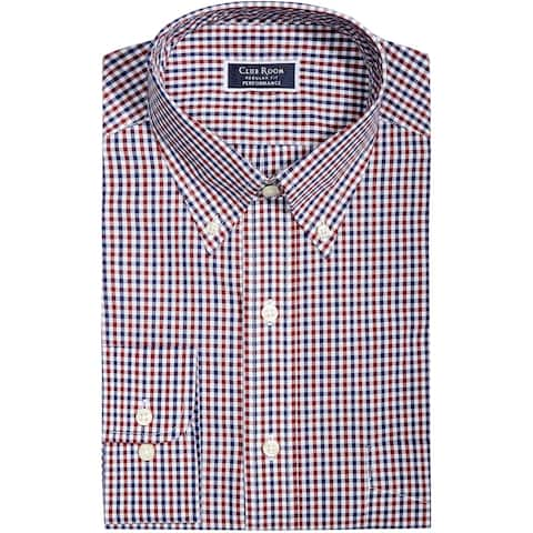 """Club Room Mens Gingham Button Up Dress Shirt, Red, 15.5"""" Neck 32""""-33"""" Sleeve"""